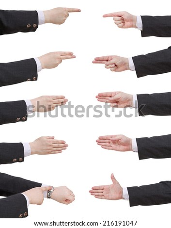 set of scoring businessman hand - gesture isolated on white background - stock photo