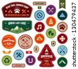Set of scout badges and merit badges for outdoor activities - stock photo