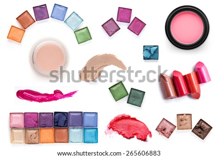 set of Scratch lipstick, blush on, powder and make up cosmetics collection - stock photo