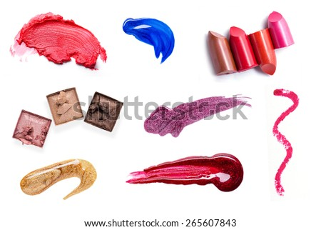 set of Scratch red lipstick and make up cosmetics - stock photo
