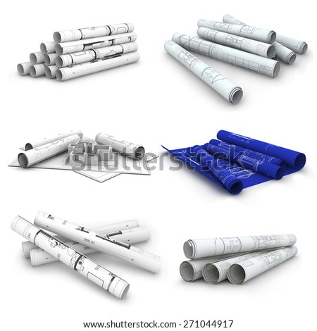 Set of Scrolls of engineering drawings. Isolated render on a white background - stock photo