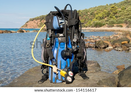 Set of Scuba Diving kit set up ready for a dive - stock photo