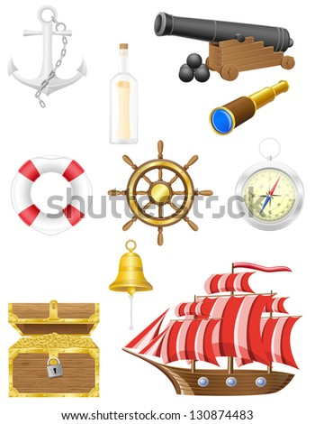 set of sea antique icons illustration isolated on white background - stock photo