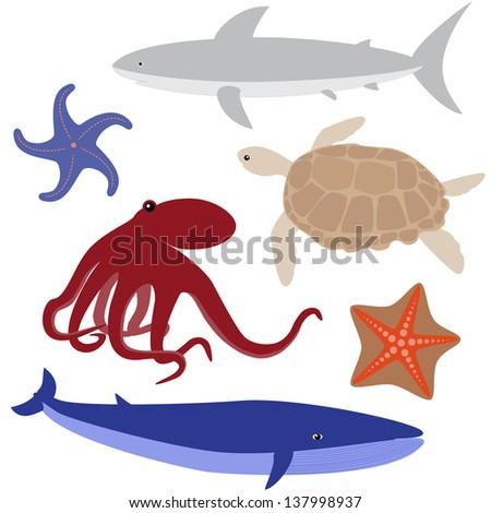 Set 4 of sea life: octopus, shark, whale, turtle, starfish. Raster version. - stock photo