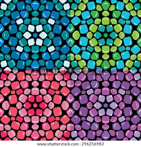 Set of seamless mosaic patterns - Blue, green, pink and purple ceramic tiles - classical geometric ornaments. Raster version - stock photo