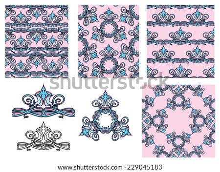 set of seamless patterns - floral ornaments and elements. Raster version - stock photo
