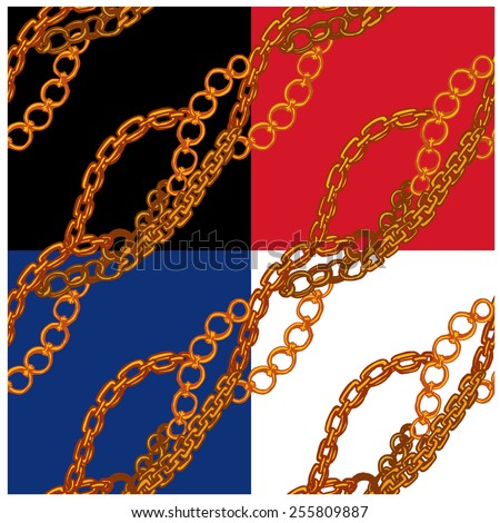 Set of seamless patterns with handdrawn Gold chains on black, red, blue and white backgrounds. raster version  - stock photo