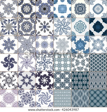 Set of Seamless Vintage Background Collection - Victorian Tile - stock photo