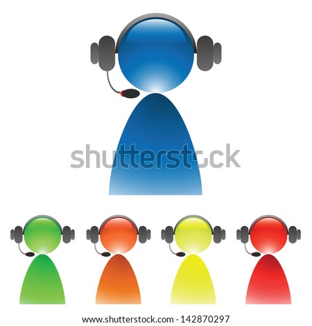 set of service operator icons for your design - stock photo