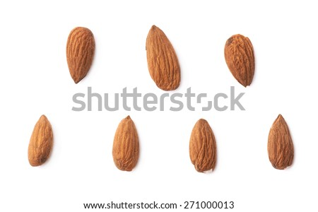 Set of seven almond seed images isolated over the white background - stock photo