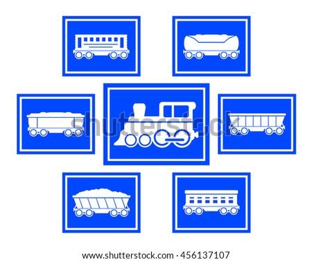 set of seven blue concept train icons - stock photo