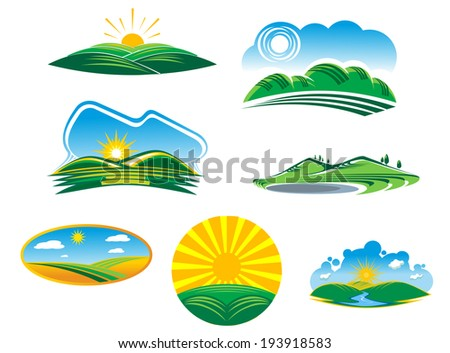 Set of seven different sunny summer landscapes logo with beautiful green fields and hills basking in the rays of sunshine. Vector version also available in gallery - stock photo