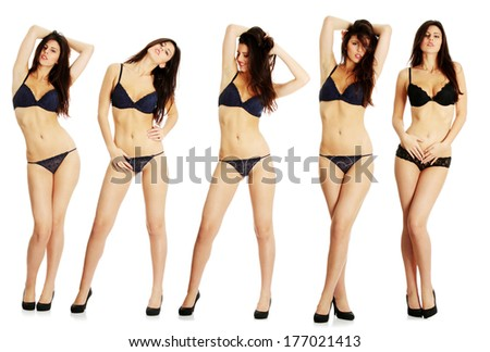 Set of sexy lady in blue lingerie, isolated on white background - stock photo