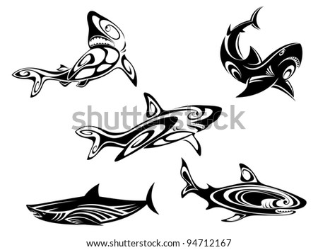 Set of shark tattoos in tribal style isolated on white background. Vector version also available in gallery - stock photo