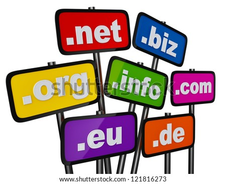 Set of signs with domains as buttons for searching in the Internet and social networks on a white background - stock photo