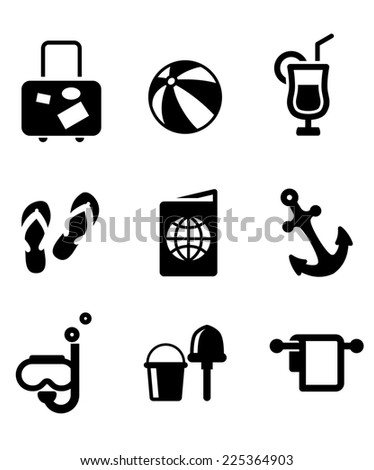 Set of silhouette summer vacation and travel icons depicting luggage,beach ball, cocktail drink, thongs, ticket, passport, anchor, snorkeling, bucket and spade - stock photo