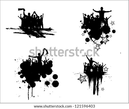 Set of silhouettes for sports championships and concerts. Raster version - stock photo