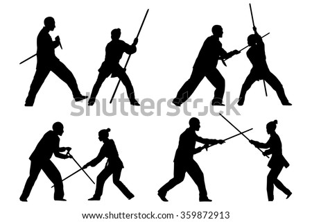 Set of silhouettes: Man and woman show Wushu Tao with a stick.  - stock photo