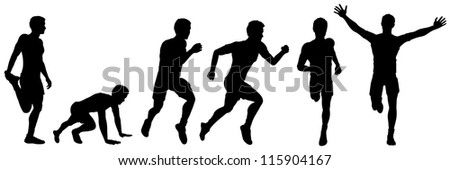 Set of silhouettes of a running man, illustration for design - stock photo