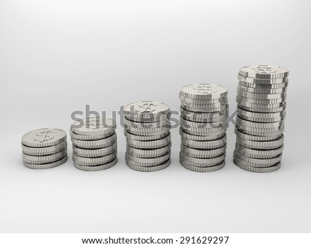 Set of silver coins sort by vertically column with gradient background. - stock photo