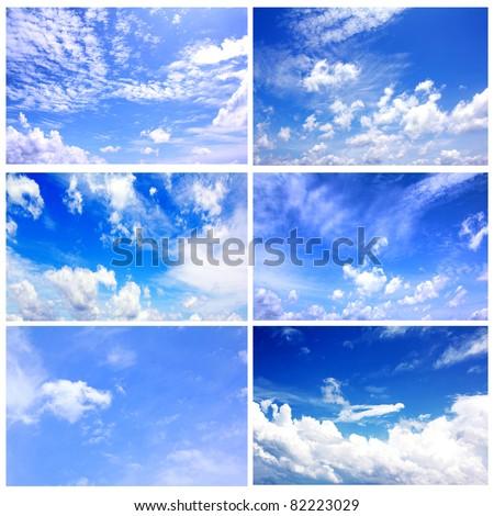Set of six blue Sky daylight collection - stock photo