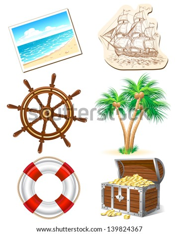 Set of six icons for sea travel. Raster version. Vector is also available in my gallery - stock photo