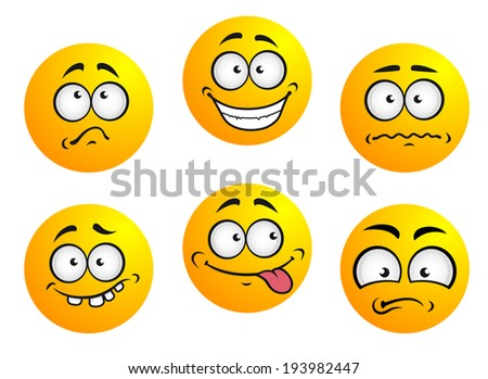 Set of six round yellow emoticons showing facial expression depicting happiness, sadness, bashful, nonplussed, embarrassed, tongue out and toothy. Vector version also available in gallery - stock photo