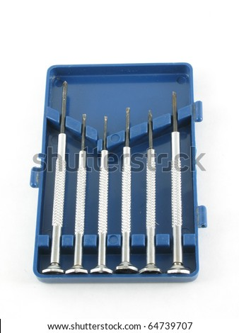 Set of small Jewelers screwdrivers to fix watches - stock photo