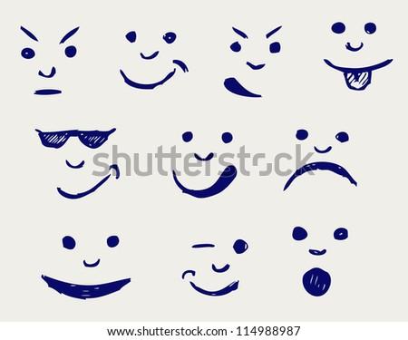 Set of smileys. Doodle style. Raster version - stock photo