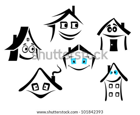 Set of smiling houses for real state design, such logo. Vector version also available in gallery - stock photo
