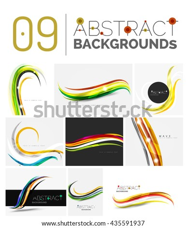 Set of smooth abstract backgrounds - wave motion concepts. Infinity space templates with sample text. Business card and identity design elements - stock photo