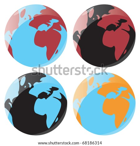 Set of smooth and glossy globe icons. Raster version. - stock photo