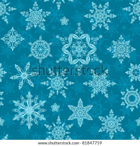 Set of snowflakes of different designs and sizes. Seamless. Raster version. - stock photo