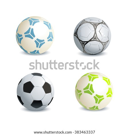 Set of  soccer balls soccer on white background. Raster copy. - stock photo