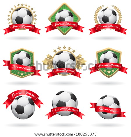 Set of soccer labels and emblems - stock photo