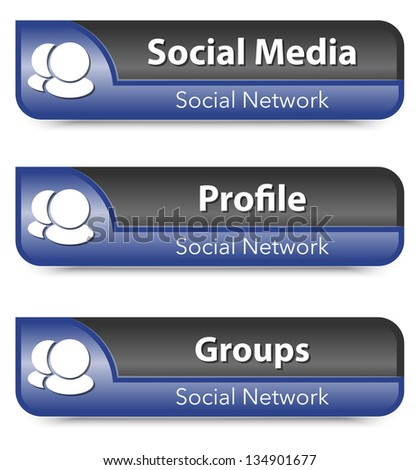Set of Social network elements - stock photo