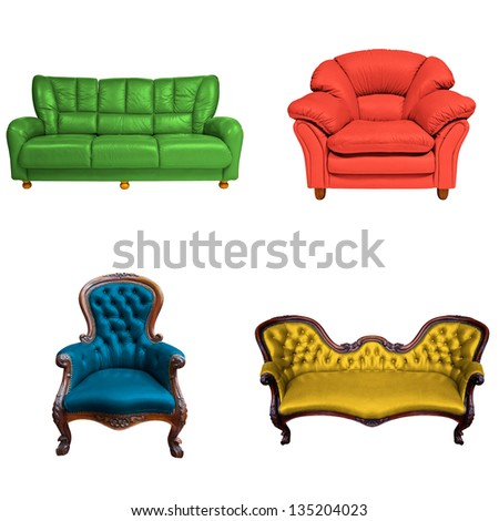 set of sofa isolated on white background - stock photo