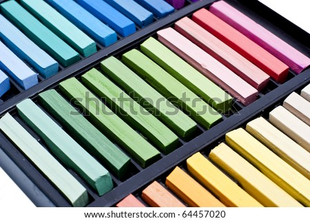 set of soft pastel in box close up - stock photo