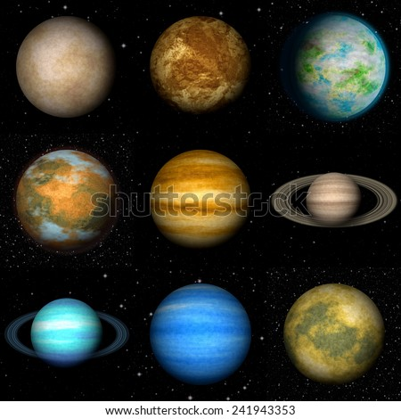 Set of Solar system planets generated textures - stock photo