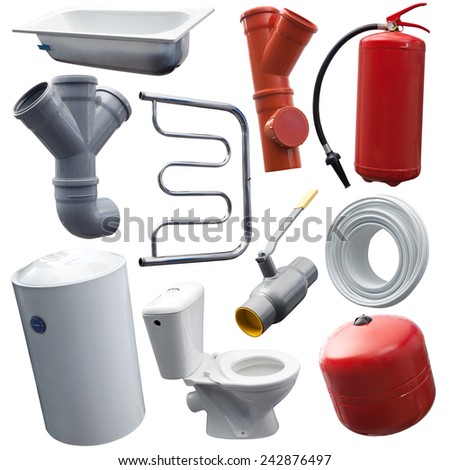 Set of some sanitary engineering objects for designers - stock photo