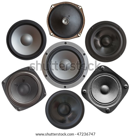 set of sound speakers isolated on white background - stock photo