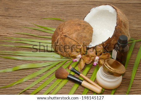 Set of spa and body care procedures with coconut ingredients - stock photo