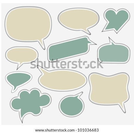 Set of Speech and Thought Elements in pastel color - stock photo