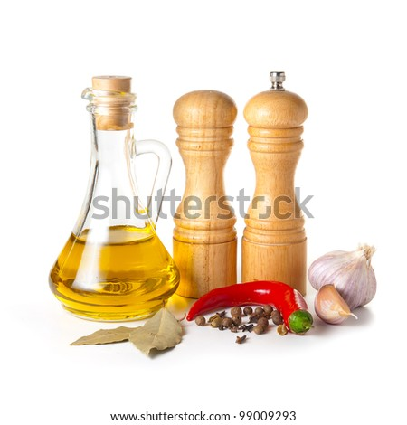 set of spice on a white background - stock photo