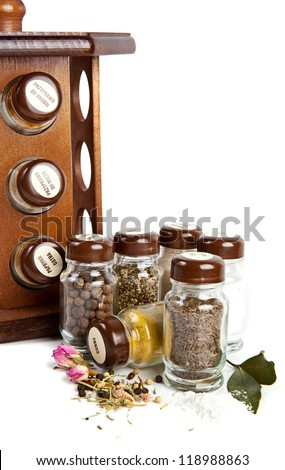 Set of spices isolated on white background - stock photo