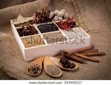 Set of spices (pepper, white pepper, black pepper, anise, caraway, coriander, cinnamon) in a wooden box. - stock photo