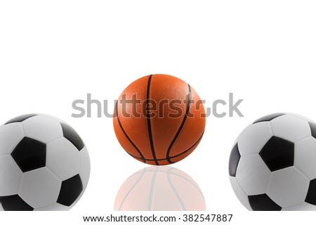 Set of sport balls, basketball and football on white background - stock photo