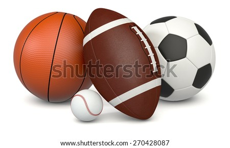 set of sport balls, soccer, basketball, football and baseball, on white background (3d render) - stock photo