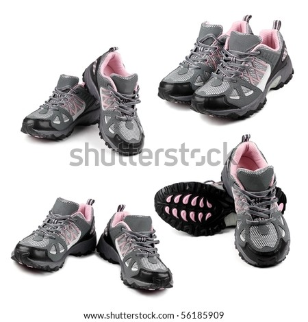 Set of sport shoes on white background. - stock photo