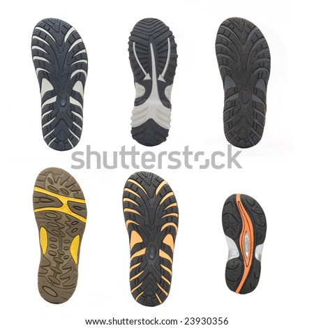 set of sports shoes soles - stock photo